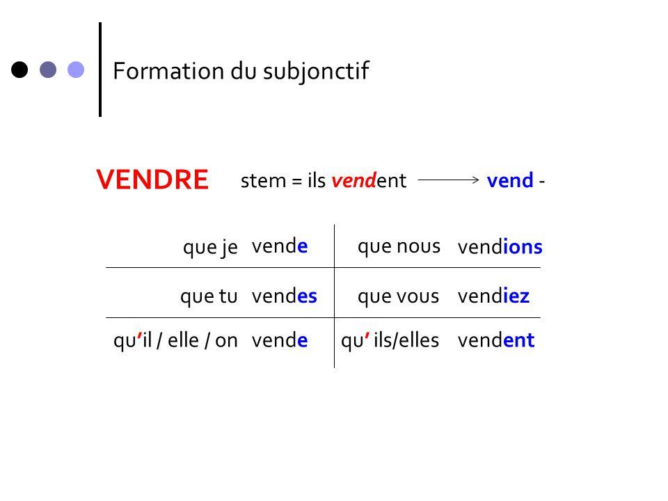 VENDRE Formation du subjonctif stem = ils vendent vend - que je vende