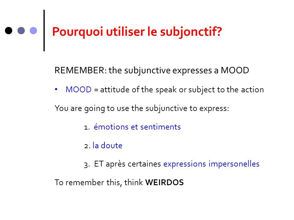 Pourquoi utiliser le subjonctif
