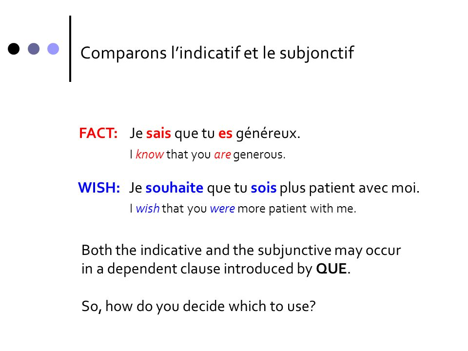 Comparons l'indicatif et le subjonctif