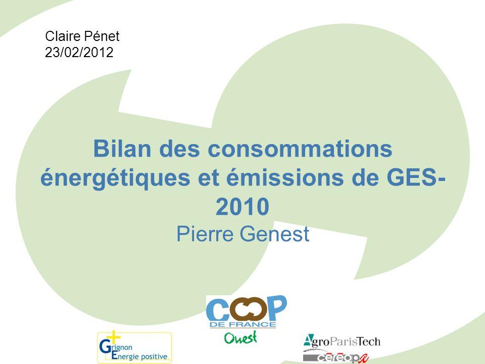 Claire Pénet 23/02/2012 Bilan des consommations énergétiques et émissions de GES-2010 Pierre Genest
