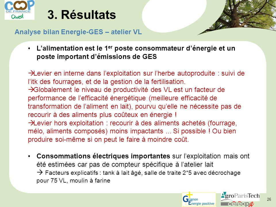 3. Résultats Analyse bilan Energie-GES – atelier VL