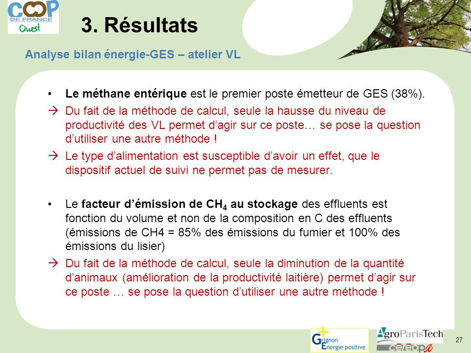 3. Résultats Analyse bilan énergie-GES – atelier VL