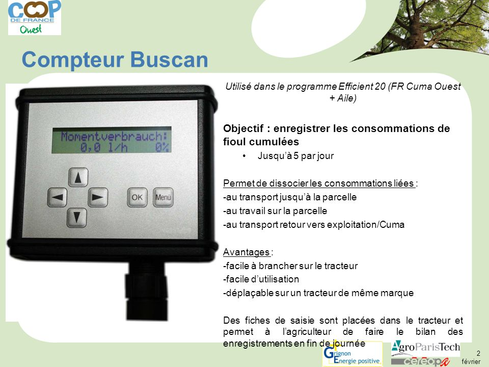 Utilisé dans le programme Efficient 20 (FR Cuma Ouest + Aile)
