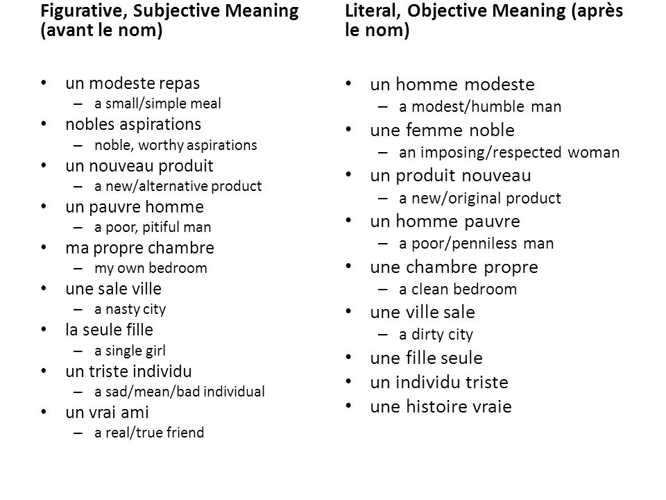 Figurative, Subjective Meaning (avant le nom)