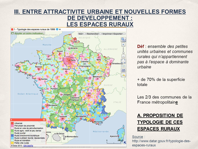 Déf : ensemble des petites unités urbaines et communes rurales qui n'appartiennent pas à l'espace à dominante urbaine
