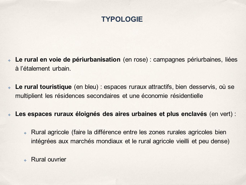 TYPOLOGIE Le rural en voie de périurbanisation (en rose) : campagnes périurbaines, liées à l'étalement urbain.