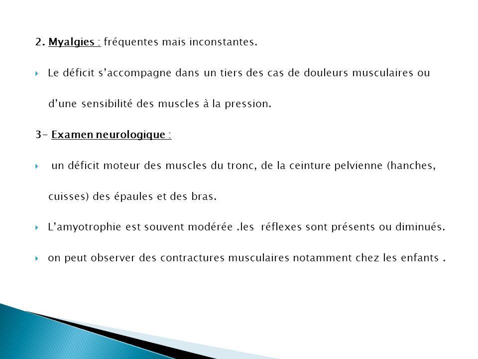 2. Myalgies : fréquentes mais inconstantes.