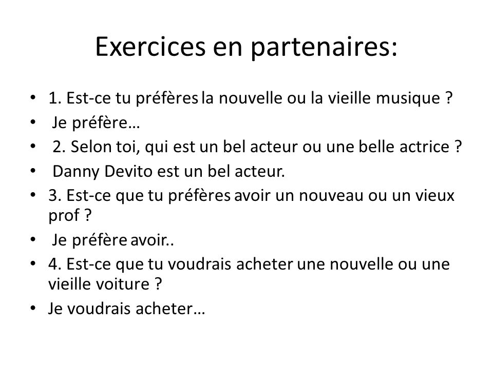 Exercices en partenaires: