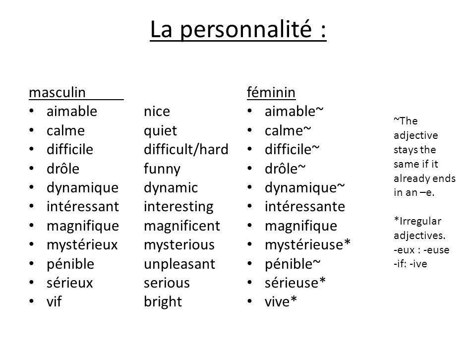 La personnalité : masculin aimable calme difficile drôle dynamique