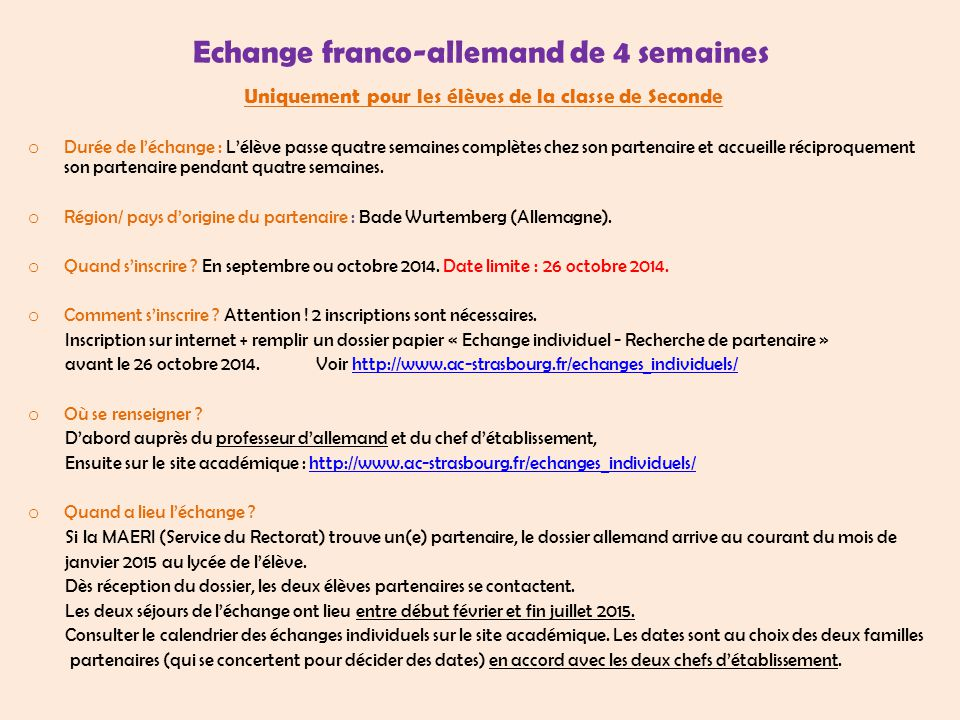 Echange franco-allemand de 4 semaines