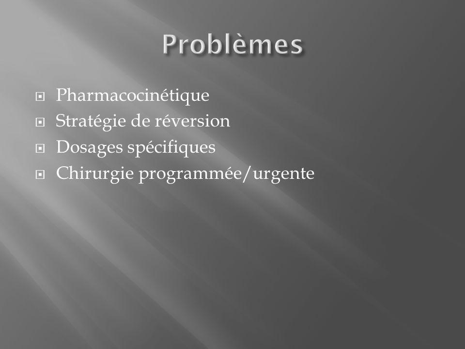Problèmes Pharmacocinétique Stratégie de réversion Dosages spécifiques