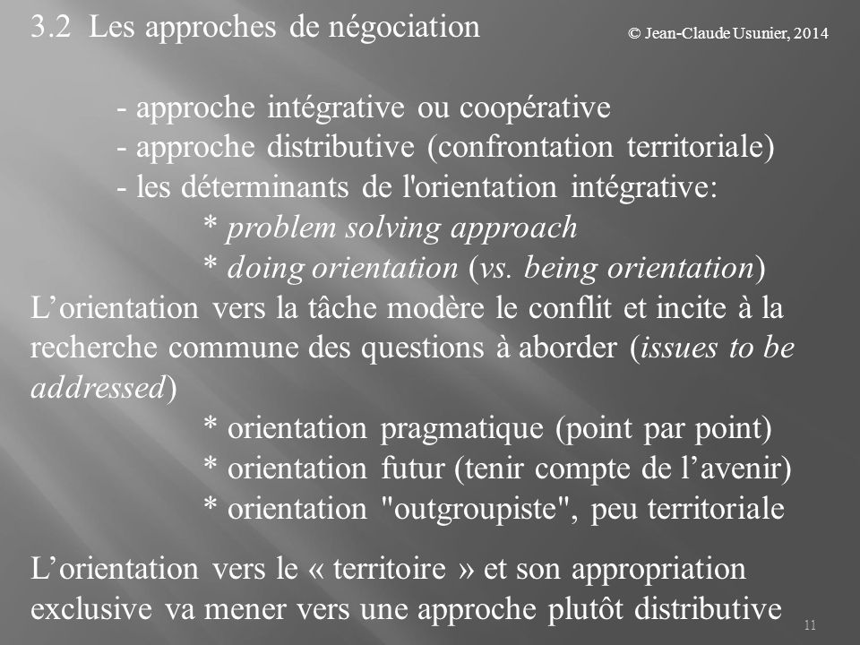 3.2 Les approches de négociation - approche intégrative ou coopérative