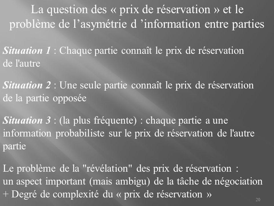 La question des « prix de réservation » et le problème de l'asymétrie d 'information entre parties