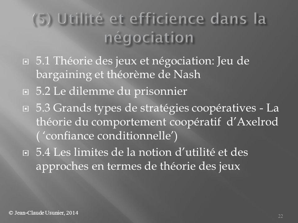 (5) Utilité et efficience dans la négociation