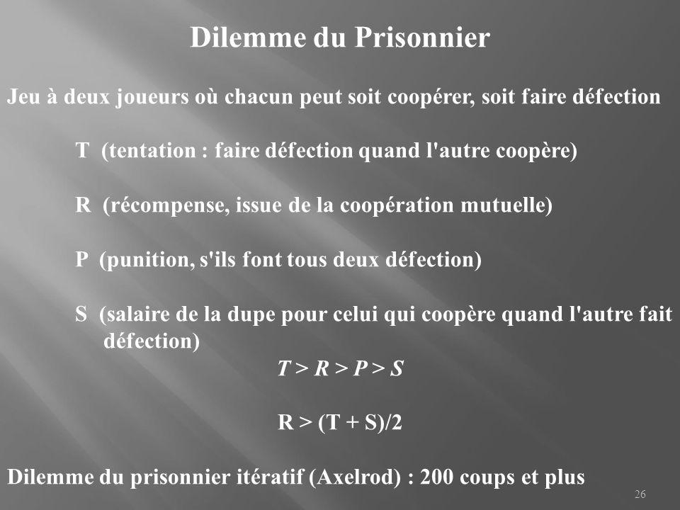 Dilemme du Prisonnier Jeu à deux joueurs où chacun peut soit coopérer, soit faire défection. T (tentation : faire défection quand l autre coopère)