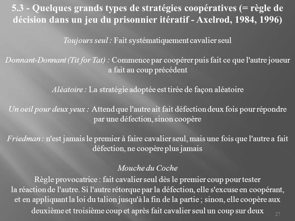 5.3 - Quelques grands types de stratégies coopératives (= règle de décision dans un jeu du prisonnier itératif - Axelrod, 1984, 1996)