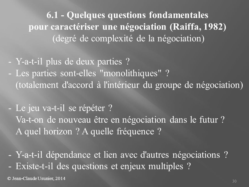 6.1 - Quelques questions fondamentales