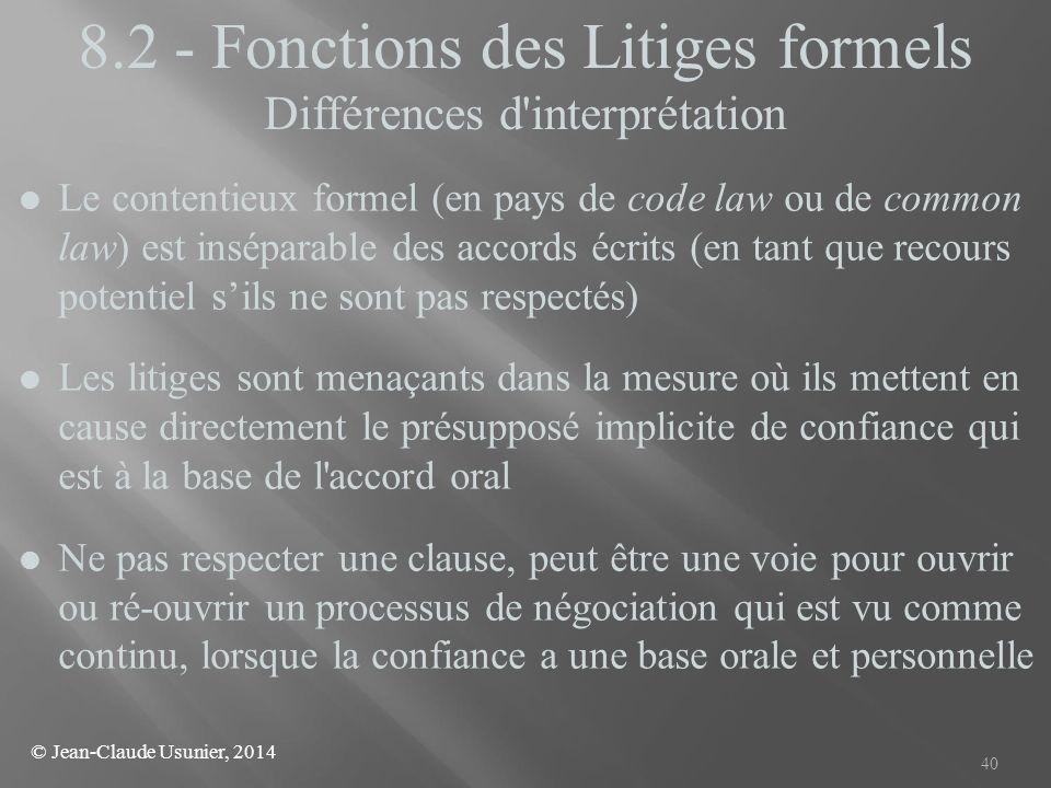 8.2 - Fonctions des Litiges formels Différences d interprétation