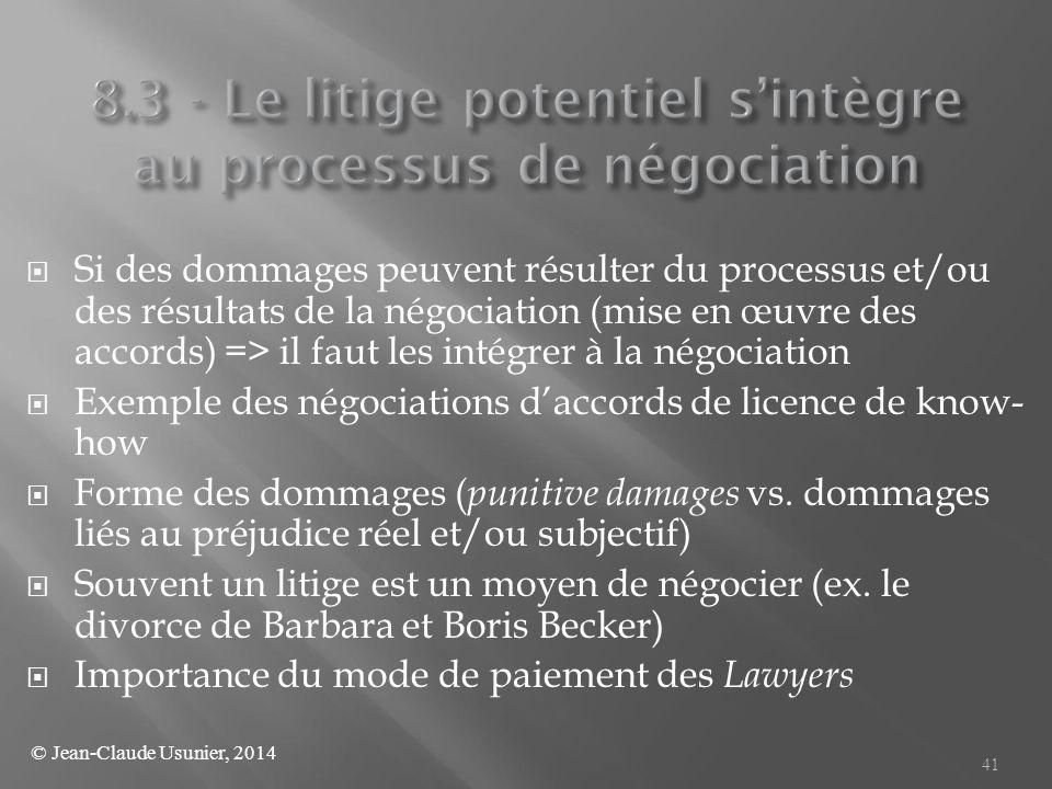 8.3 - Le litige potentiel s'intègre au processus de négociation