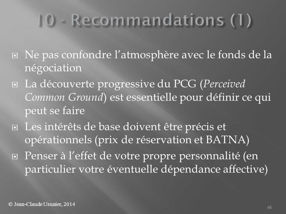 10 - Recommandations (1) Ne pas confondre l'atmosphère avec le fonds de la négociation.