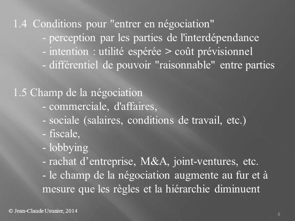 1.4 Conditions pour entrer en négociation