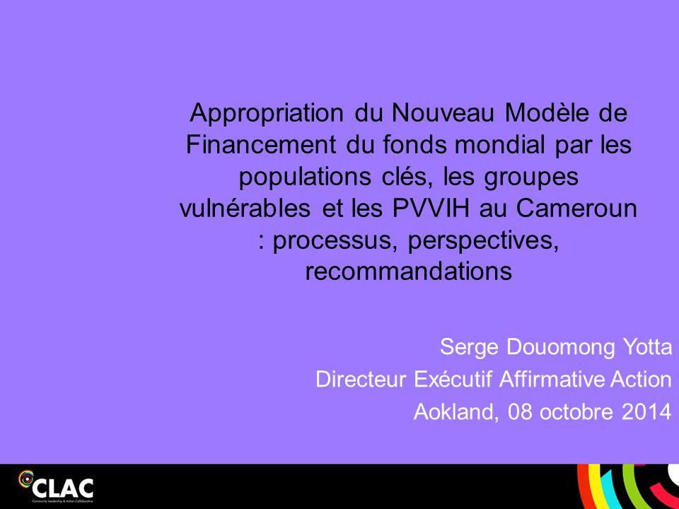 Appropriation du Nouveau Modèle de Financement du fonds mondial par les populations clés, les groupes vulnérables et les PVVIH au Cameroun : processus, perspectives, recommandations