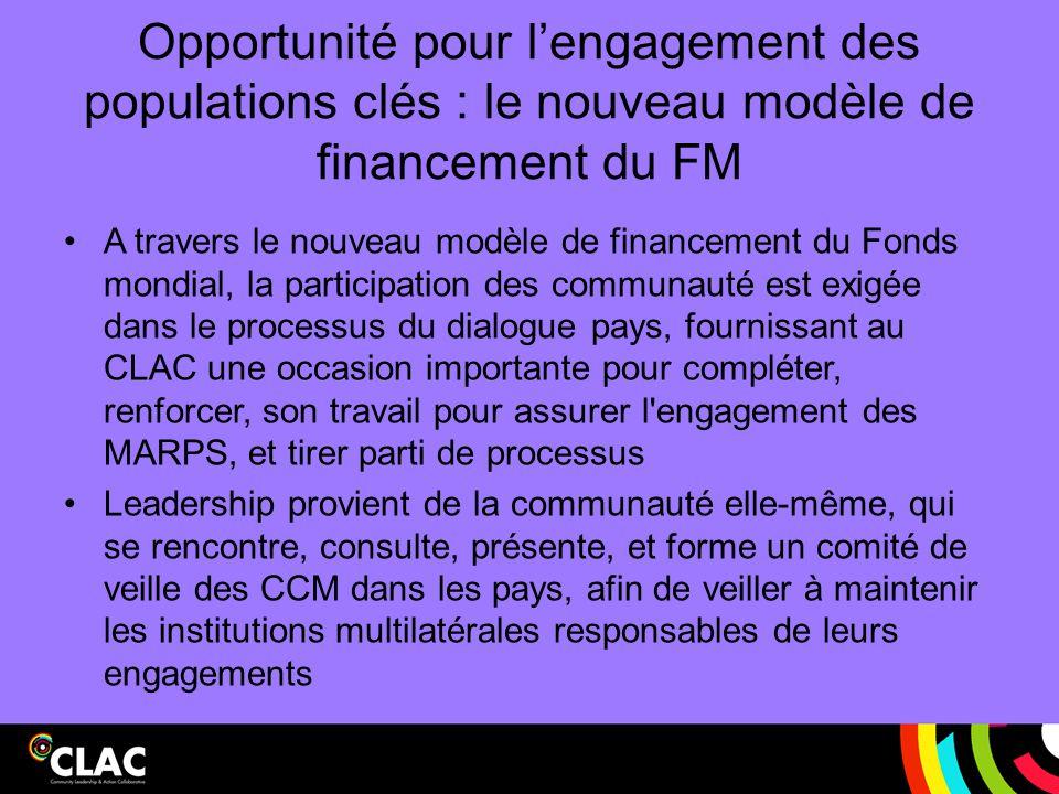 Opportunité pour l'engagement des populations clés : le nouveau modèle de financement du FM