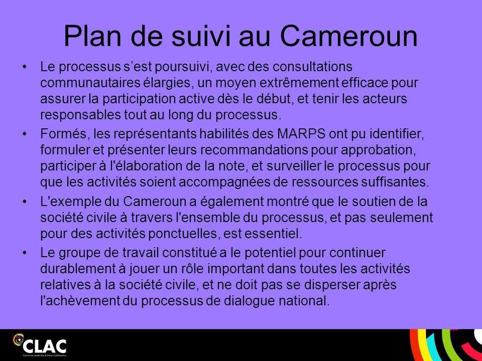 Plan de suivi au Cameroun
