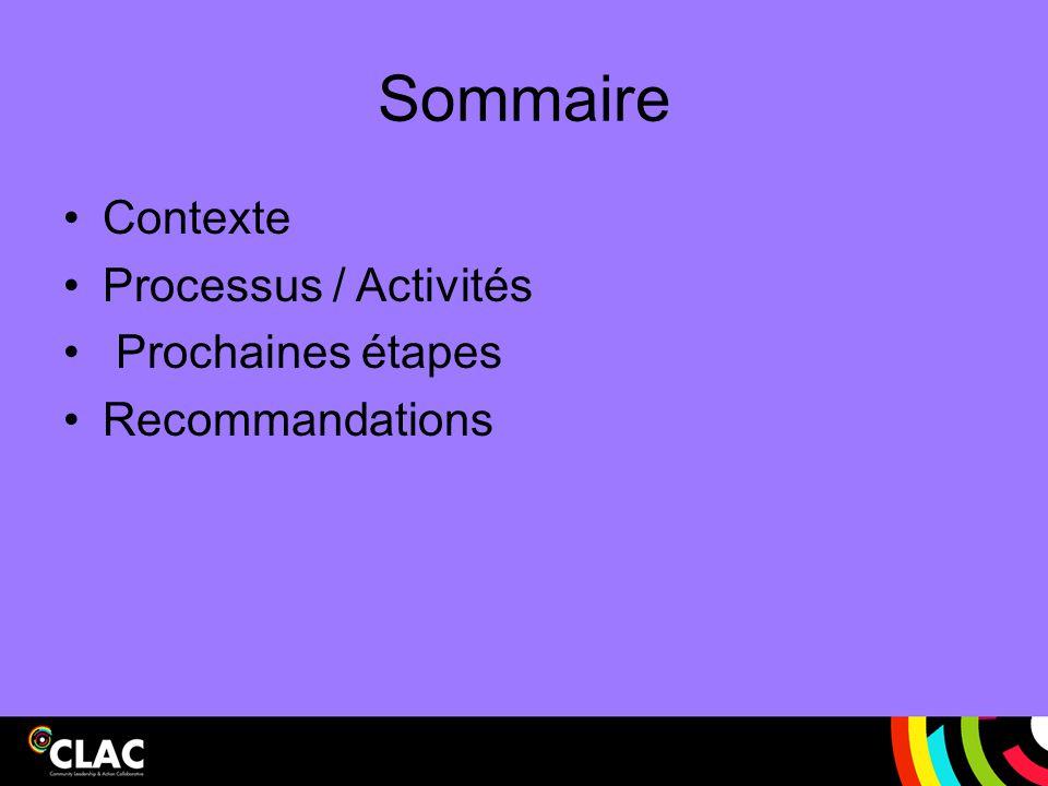 Sommaire Contexte Processus / Activités Prochaines étapes