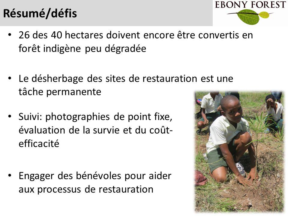 Résumé/défis 26 des 40 hectares doivent encore être convertis en forêt indigène peu dégradée.