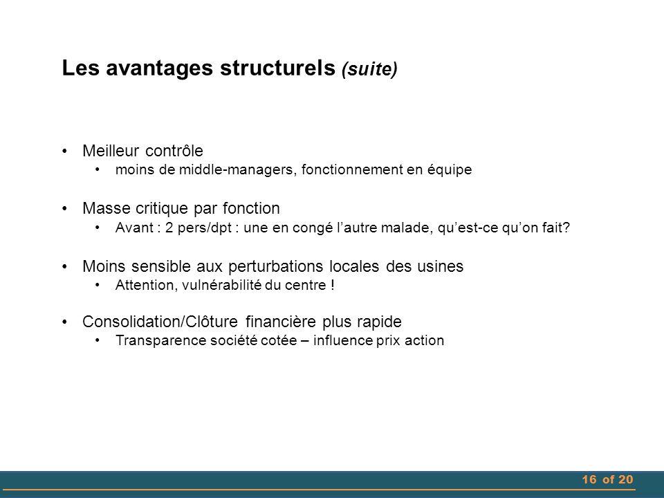 Les avantages structurels (suite)