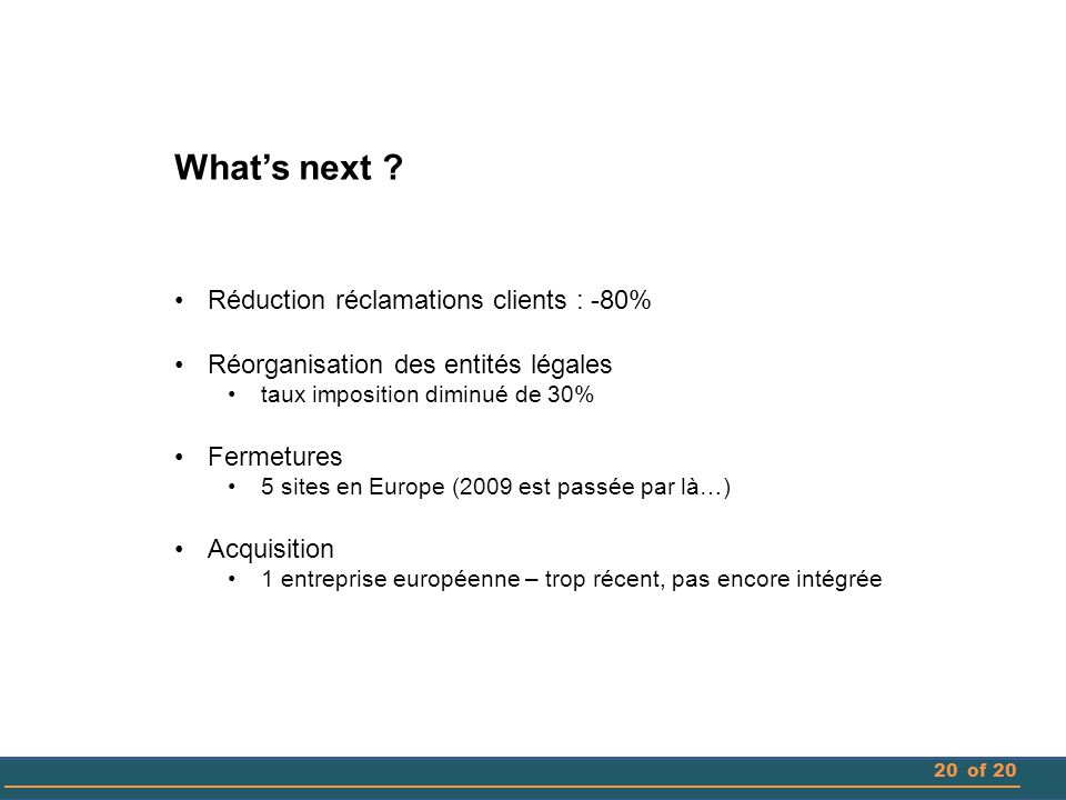 What's next Réduction réclamations clients : -80%