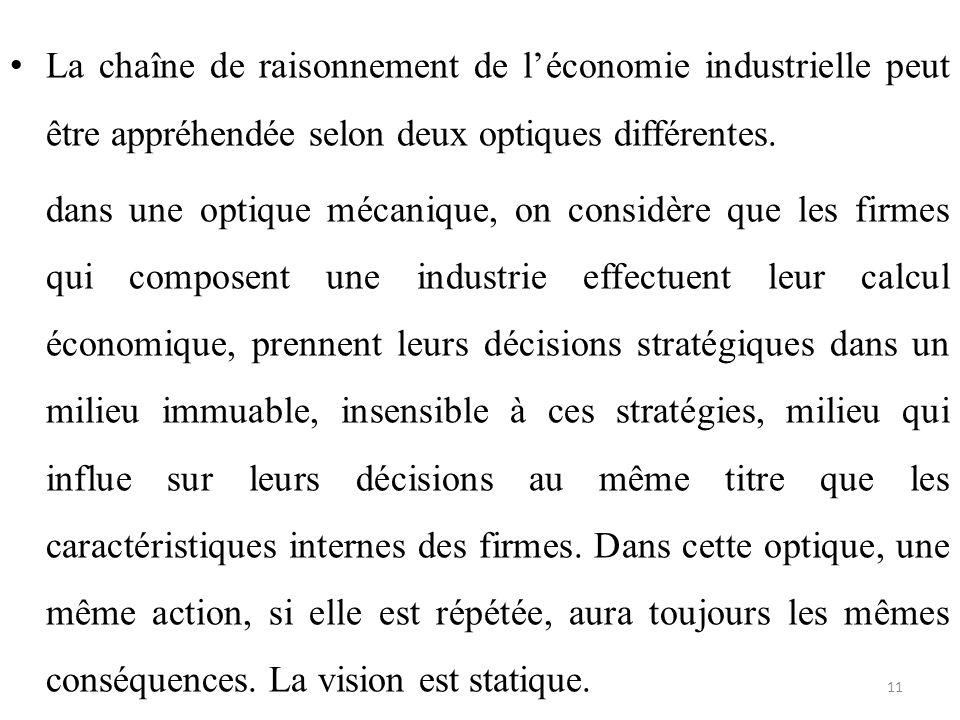 La chaîne de raisonnement de l'économie industrielle peut être appréhendée selon deux optiques différentes.