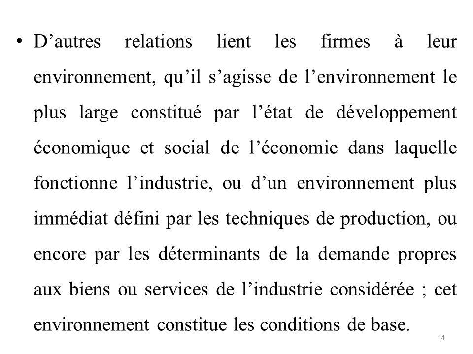 D'autres relations lient les firmes à leur environnement, qu'il s'agisse de l'environnement le plus large constitué par l'état de développement économique et social de l'économie dans laquelle fonctionne l'industrie, ou d'un environnement plus immédiat défini par les techniques de production, ou encore par les déterminants de la demande propres aux biens ou services de l'industrie considérée ; cet environnement constitue les conditions de base.