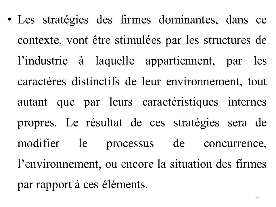 Les stratégies des firmes dominantes, dans ce contexte, vont être stimulées par les structures de l'industrie à laquelle appartiennent, par les caractères distinctifs de leur environnement, tout autant que par leurs caractéristiques internes propres.
