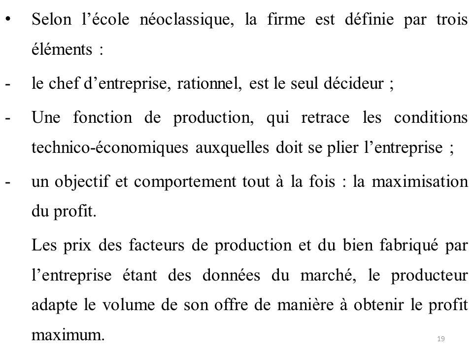 Selon l'école néoclassique, la firme est définie par trois éléments :