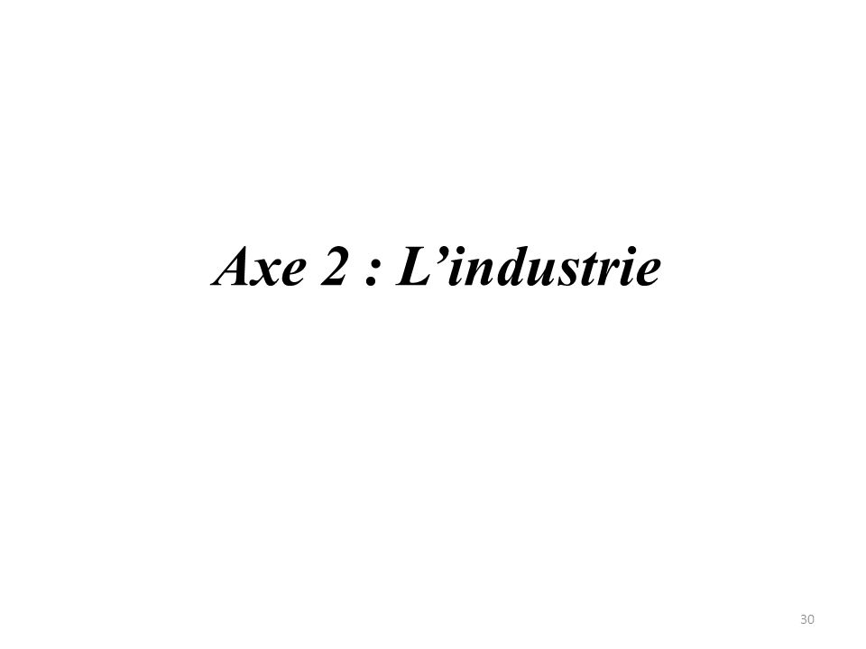 Axe 2 : L'industrie