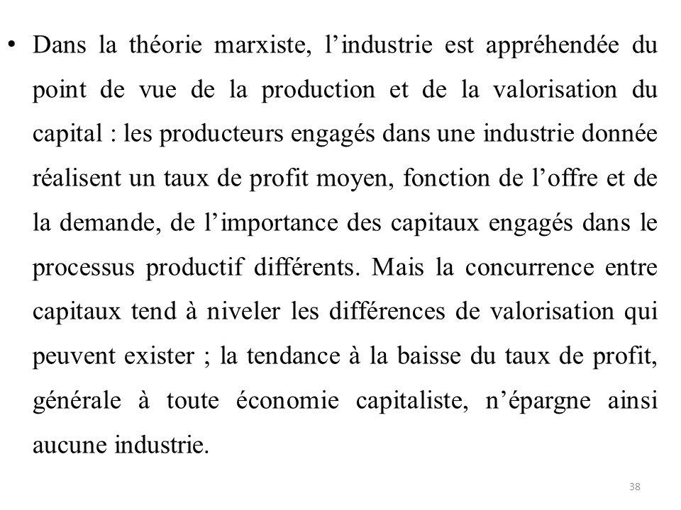 Dans la théorie marxiste, l'industrie est appréhendée du point de vue de la production et de la valorisation du capital : les producteurs engagés dans une industrie donnée réalisent un taux de profit moyen, fonction de l'offre et de la demande, de l'importance des capitaux engagés dans le processus productif différents.