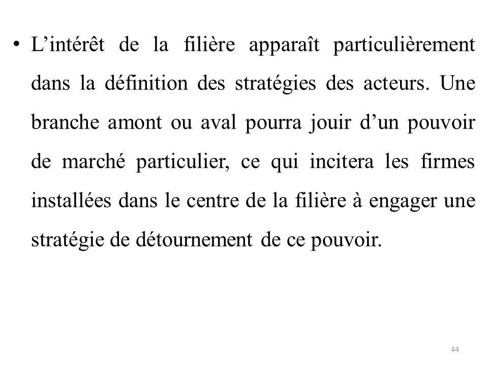 L'intérêt de la filière apparaît particulièrement dans la définition des stratégies des acteurs.