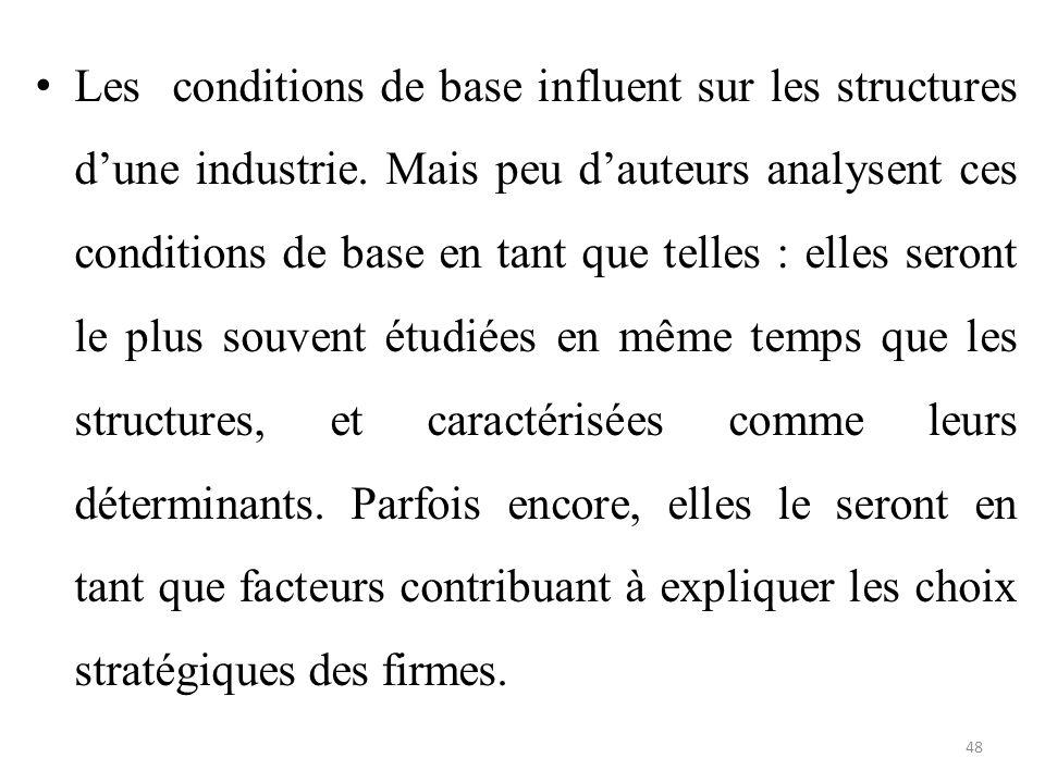 Les conditions de base influent sur les structures d'une industrie