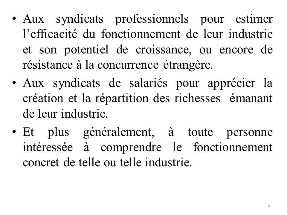 Aux syndicats professionnels pour estimer l'efficacité du fonctionnement de leur industrie et son potentiel de croissance, ou encore de résistance à la concurrence étrangère.
