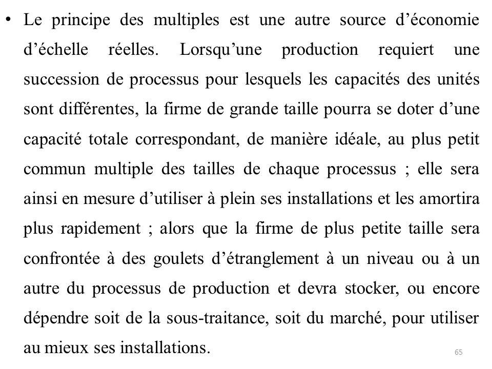 Le principe des multiples est une autre source d'économie d'échelle réelles.