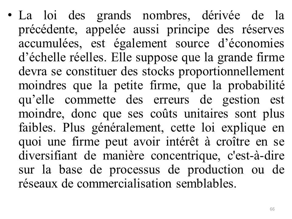 La loi des grands nombres, dérivée de la précédente, appelée aussi principe des réserves accumulées, est également source d'économies d'échelle réelles.