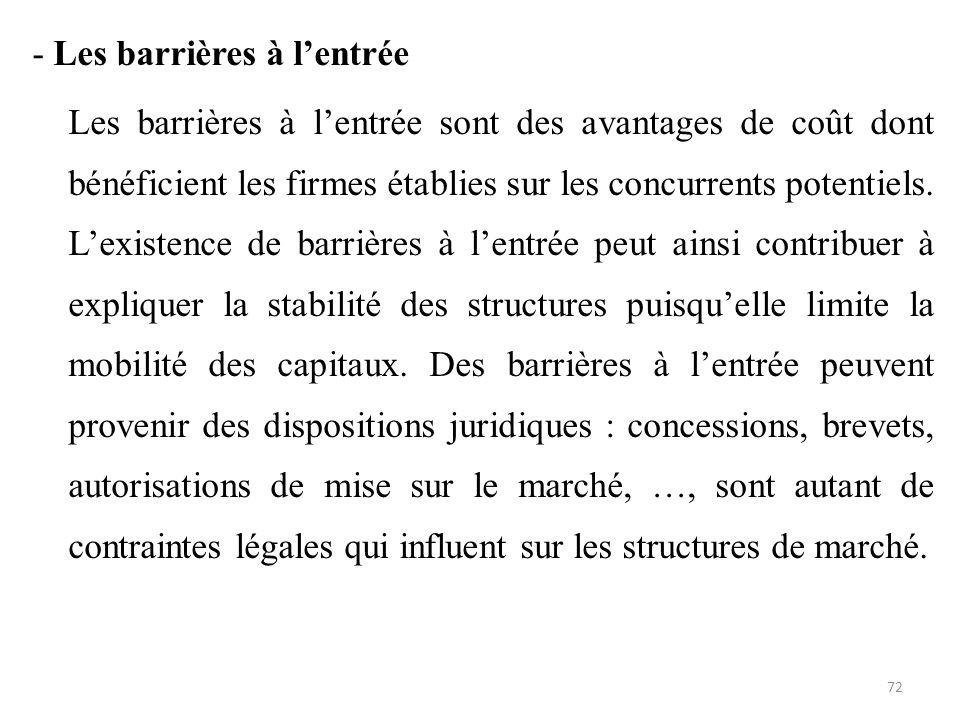 - Les barrières à l'entrée