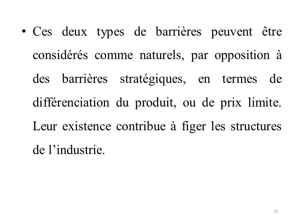 Ces deux types de barrières peuvent être considérés comme naturels, par opposition à des barrières stratégiques, en termes de différenciation du produit, ou de prix limite.