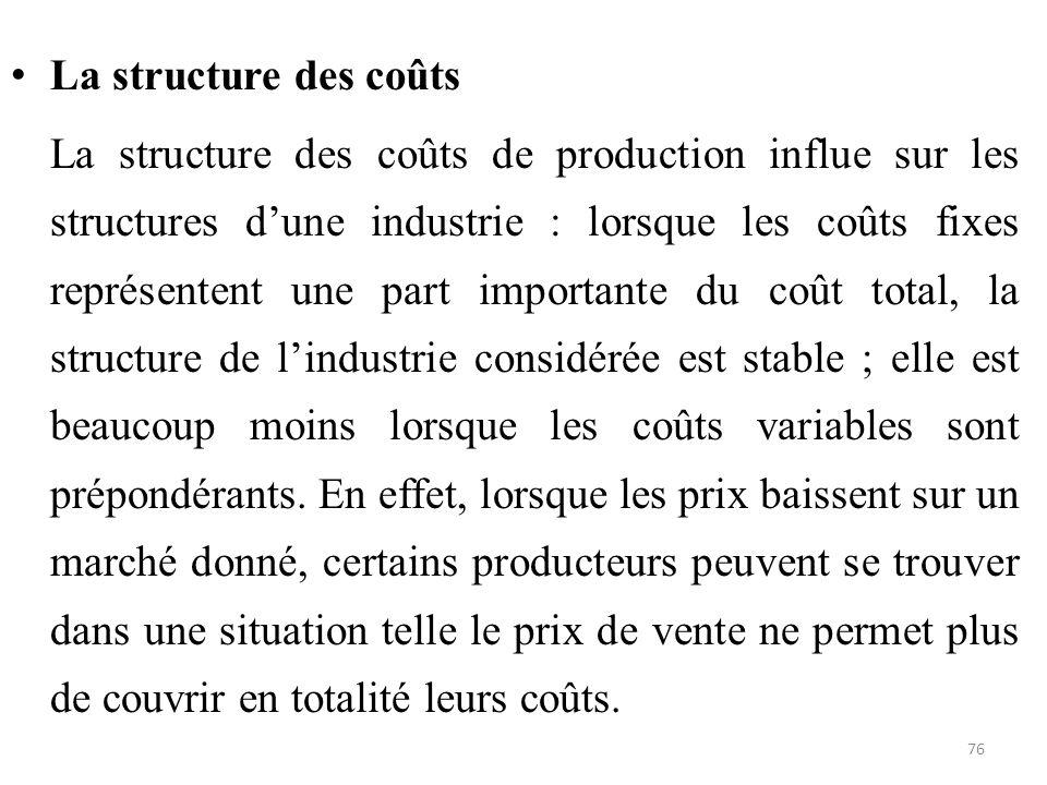 La structure des coûts