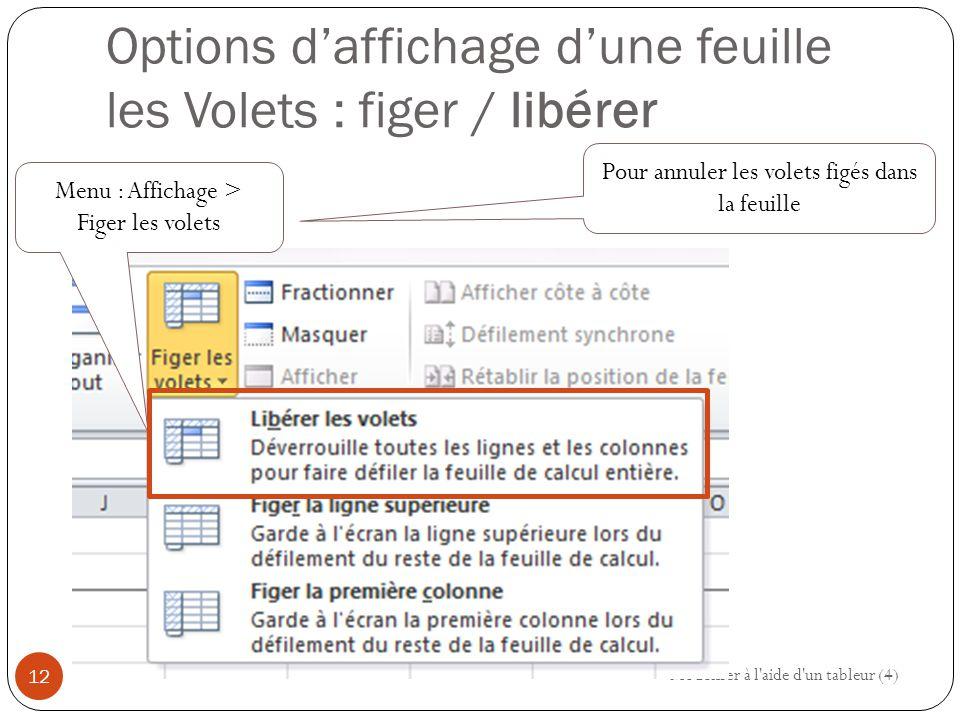 Options d'affichage d'une feuille les Volets : figer / libérer