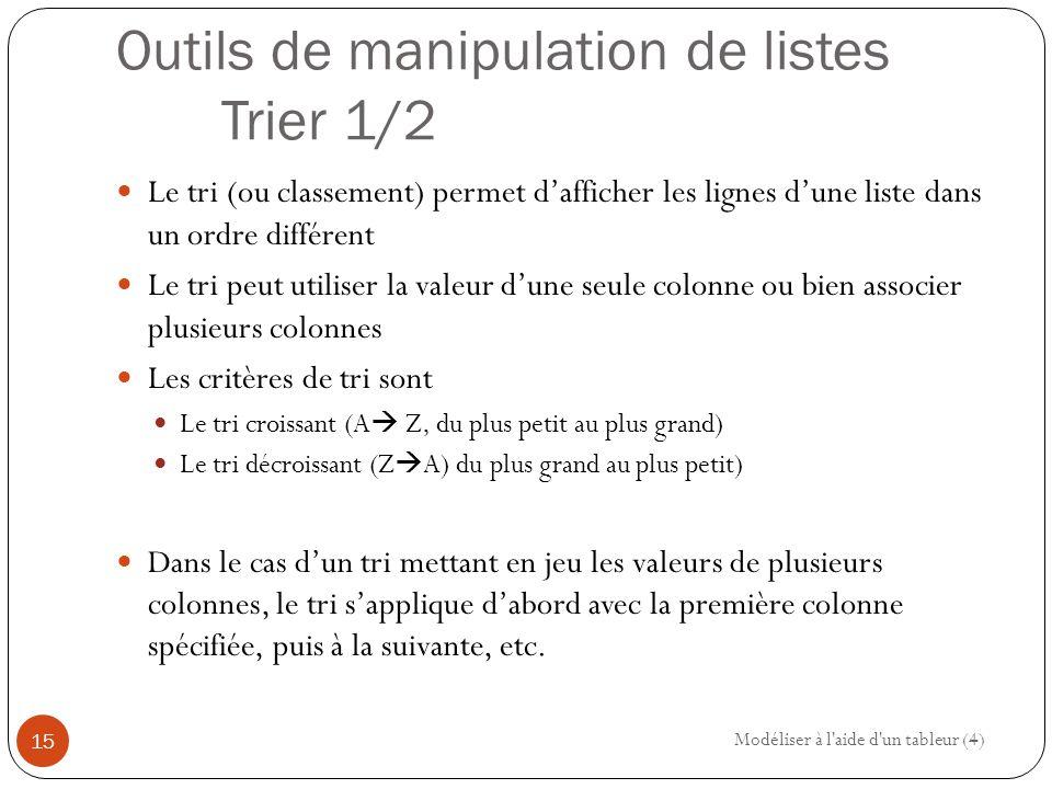 Outils de manipulation de listes Trier 1/2