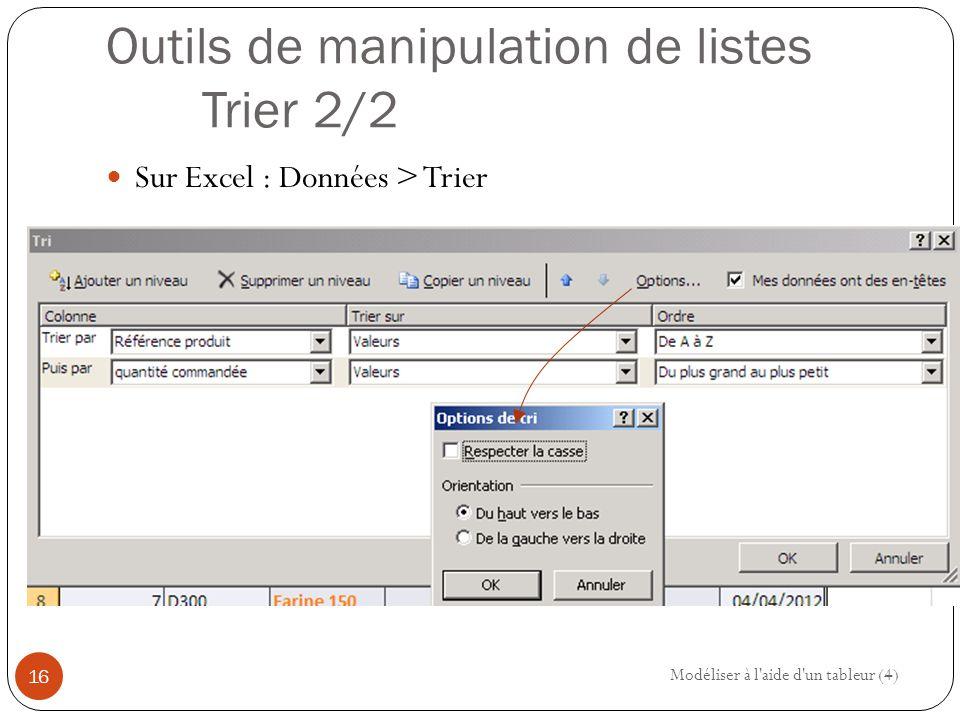 Outils de manipulation de listes Trier 2/2