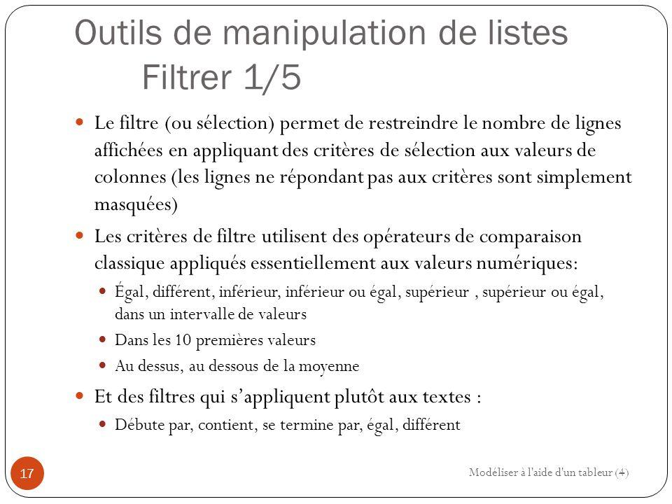 Outils de manipulation de listes Filtrer 1/5